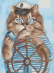 Рисование по номерам (на холсте) 30х40 2051HS Кот моряк