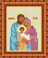 Канва для бисера КБИ-6006ж Святое семейство 7х9 см
