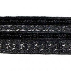 Кружево плетеное с бархатными вставками X5511, 1/3 ярд.