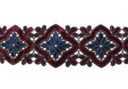 Кружево плетёное с бархатными вставками Z0078 1/4 ярд