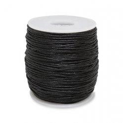 Шнур вощёный, чёрный 1,5 мм 1/100 ярд