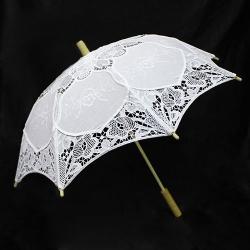 Кружевной свадебный зонт HS-16 с дерев. ручкой
